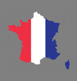 france map with the french flag vector image vector image