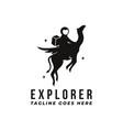fun space explorer logo astronaut logo vector image