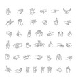 hand gestures line icon set vector image vector image