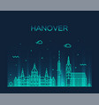 hanover skyline lower saxony germany linear vector image vector image