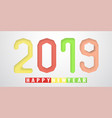 happy new year 2019 in material design concept on vector image vector image