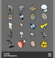 isometric outline color icons set vector image