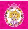 little princess blonde on a pink background vector image vector image