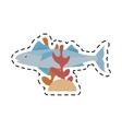 mackerel fish sea life coral line dotted vector image vector image