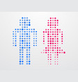 man and woman symbol of color dots vector image