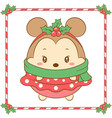 merry christmas cute mouse drawing and green scarf vector image vector image