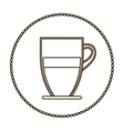 monochrome round contour with glass jar of coffee vector image vector image