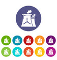 nuclear power plant tower icons set color vector image