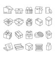packaging isolated icons parcels and gift boxes vector image vector image
