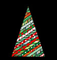 patchwork design of christmas tree on black vector image vector image