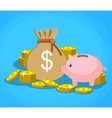 piggy bank with golden coins and bag of money vector image vector image