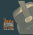 poster for jazz festival of live music with guitar vector image vector image