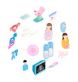 pregnancy isometric 3d icons set vector image