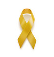 realistic yellow ribbon 3d icon isolated on white vector image vector image