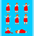 russia set poses russian girl happy and yoga vector image