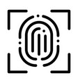 scan fingerprint close-up icon outline vector image vector image