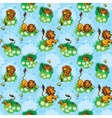 Seamless pattern with funny lion play with vector image vector image