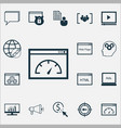 seo icons set collection of media campaign vector image vector image