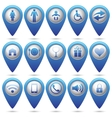 Set of blue map pointers vector image
