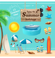 set realistic summer icons and objects vector image vector image