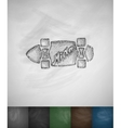 skateboard Miami icon Hand drawn vector image vector image