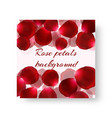 template greeting card with rose petals vector image vector image