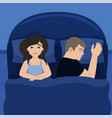 the wife is in bed with her husband insomnia vector image vector image