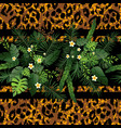tropical flowers and animal border vector image vector image