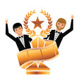 two actors waving hand with gold trophy laurel vector image