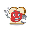 with phone bread with jam character cartoon vector image