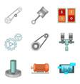 workbench icons set cartoon style