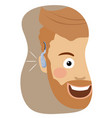 young hipster man wearing a hearing aid smiling vector image vector image