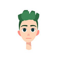 young man with big blue eyes and green hair vector image vector image