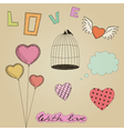 Hand-drawn colorful Valentines Day design elements vector image