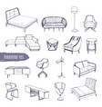 set of various furniture hand drawn different vector image