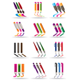 Writing drawing and painting tools icons set vector image
