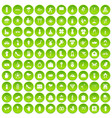 100 flowers icons set green circle vector image vector image