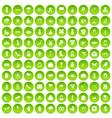100 flowers icons set green circle