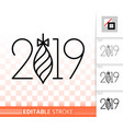 2019 simple new years eve black line icon vector image vector image