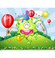 A hilltop with a happy monster jumping vector image vector image