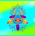 all-seeing eye pyramid symbol vector image vector image
