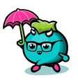 Blue Monster With Under Rain vector image vector image
