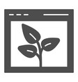 browser with leaf solid icon web window and plant vector image