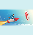 businessman flying forward with a rocket engine to vector image vector image
