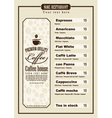 Coffee menu vector image vector image