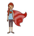 color crayon stripe cartoon full body super hero vector image