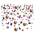 colorful birds and leaves in dudling style on a vector image vector image