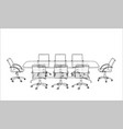 conference table with chairs in sketch style vector image vector image