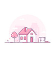 cottage - modern thin line design style vector image vector image