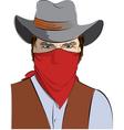 cowboy in mask vector image vector image